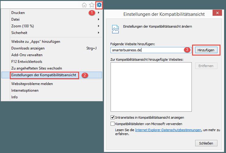 Internet Explorer Kompatibilitaetsansicht