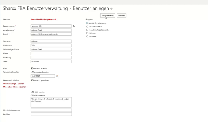 Sharxx Extranet User Manager Benutzer anlegen