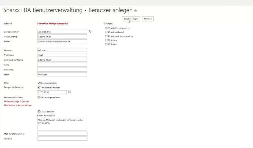 Sharxx Extranet User Manager Benutzer anlegen