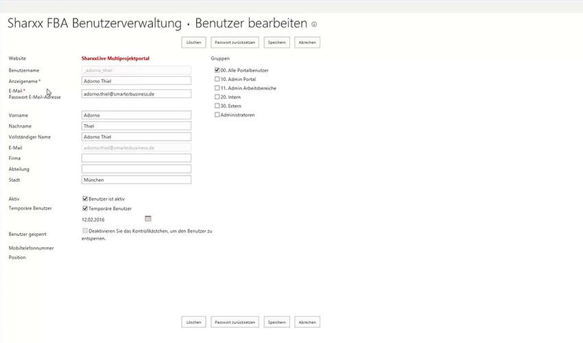 Sharxx Extranet User Manager Benutzer bearbeiten