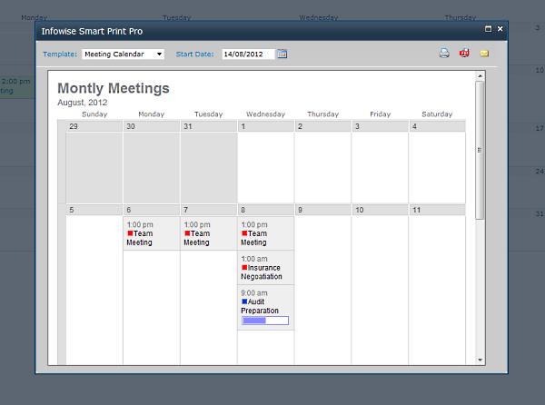 Smart Print Pro - Kalenderansicht